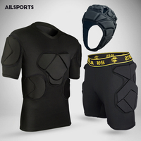 New Sports Safety Protective Kits Thicken Gear Soccer Goalkeeper Jersey Pants Football Goalie Knee Elbow Head