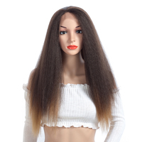 ELEGANT MUSES 24inch Long Kinky Straight Hair Lace Front Wig Brown Heat Resistant Color Synthetic Wigs For Black Women