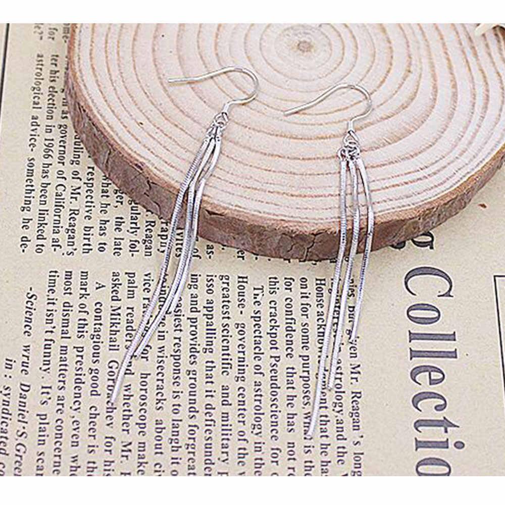 Женское висячее ювелирное изделие Anenjery, серебряные серьги из стерлингового серебра 925 пробы с кисточками в виде цепочек, S-E63
