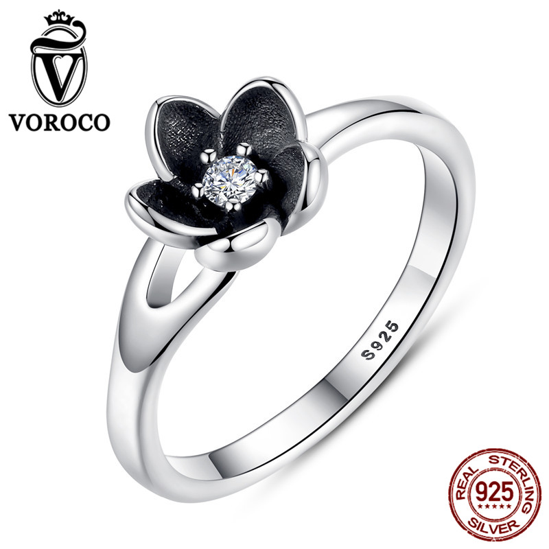 VOROCO HOT SELL Floral Flower Silver Ring For Woman Clear CZ Round Stone Female Rings 925 Sterling Silver Jewelry anillos P7154 mo mat mirror tempered glass front back protectors for iphone 5 5s deep pink