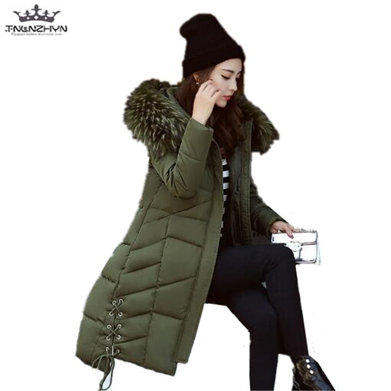 tnlnzhyn 2017 New Autumn Winter Down Cotton Coat Medium Long Women Hooded Cotton Jacket Thick Slim Fur Collar Parka Coat Y648 new 2015 autumn winter outdoors medium long fleece jacket fur hooded army green parka men thickening coat 10