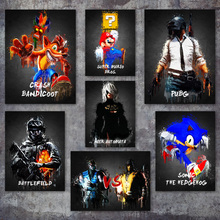 Купить с кэшбэком Super Mario PUBG Nier Automata Crash Bandicoot Game Wall Art Canvas Painting Posters And Prints Wall Pictures For Living Room