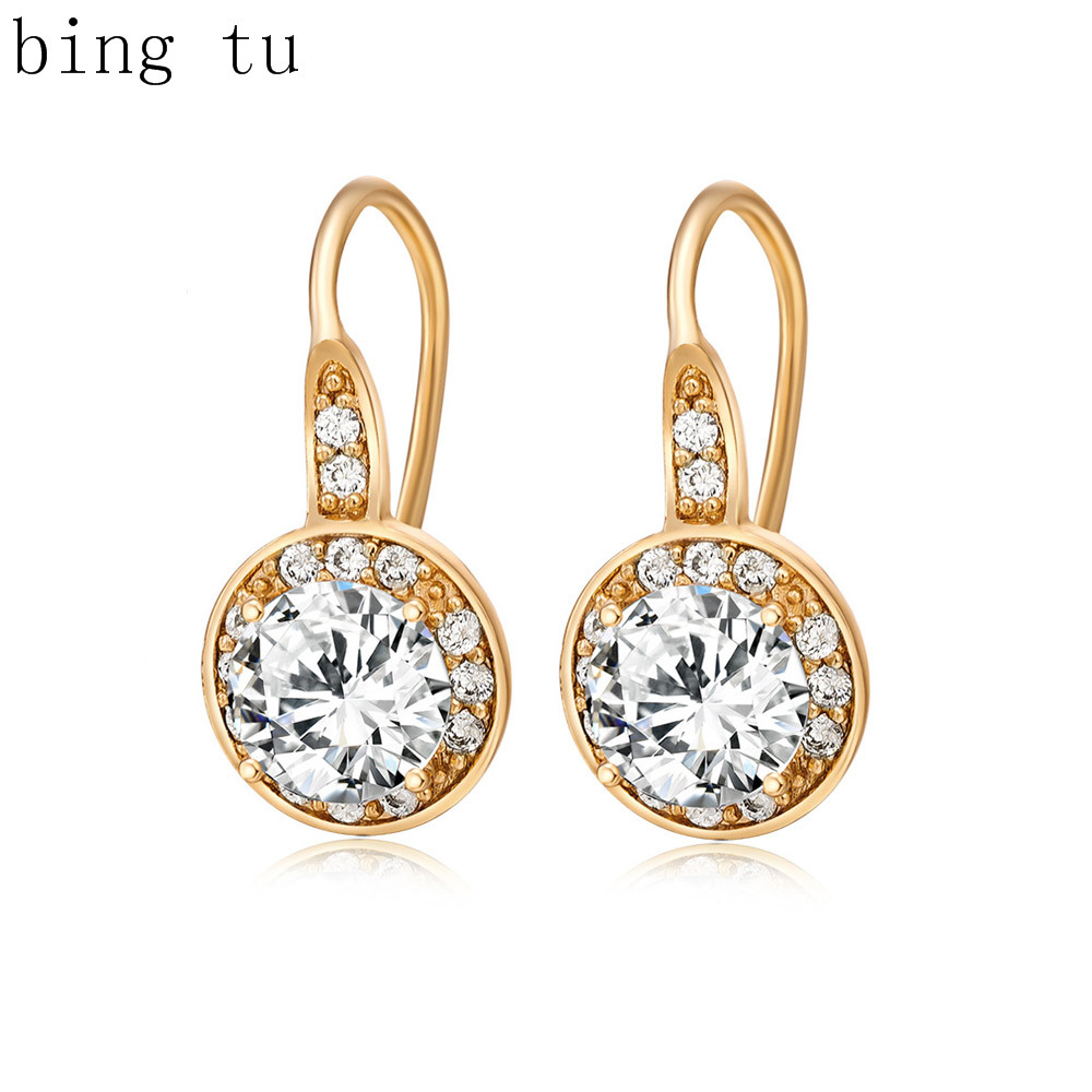 Bing Tu Top Quality Small Cubic Zirconia Round Hoop Earrings For ...