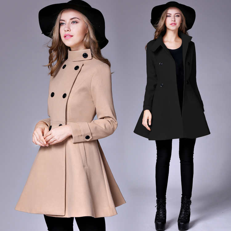 2019 Winter Coat For Women Solid Double Breasted Wool Coats Long Style Slim Outerwear Abrigo Mujer