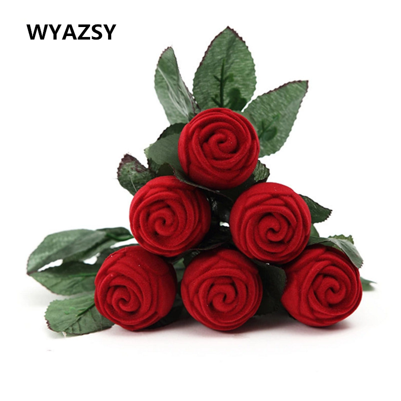 Red Rose Ring Box Personalized Velvet Wedding Originality Gift Box Fashion Valentines Engagement Box Jewellery Packaging Box mini cute red carrying cases foldable red heart shaped ring box for rings lid open velvet display box jewelry packaging 1pcs hot