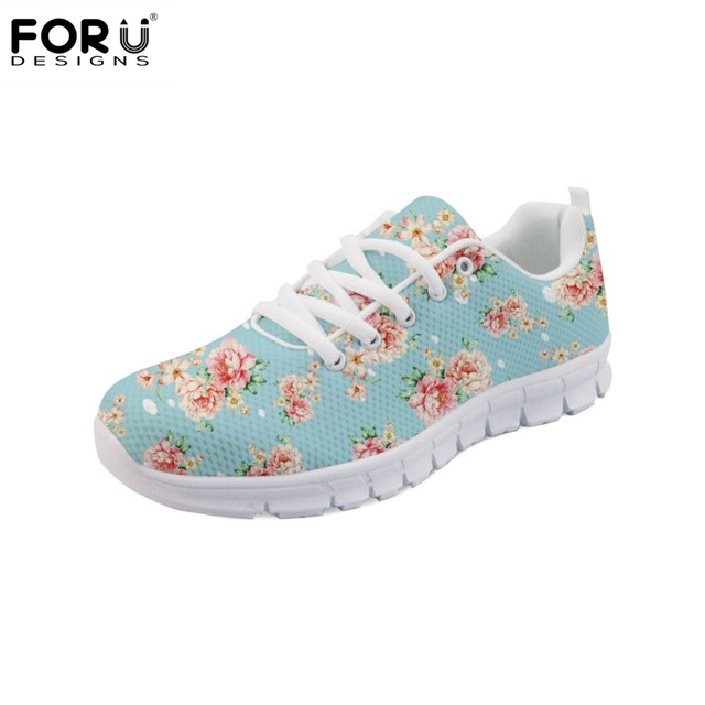 ab9c7dd042 Aliexpress.com : Buy FORUDESIGNS Flower Printing Fashion Flats Women Casual  Sneakers Shoes Woman Light Weight Breathable Mesh Shoes for Girls Female ...