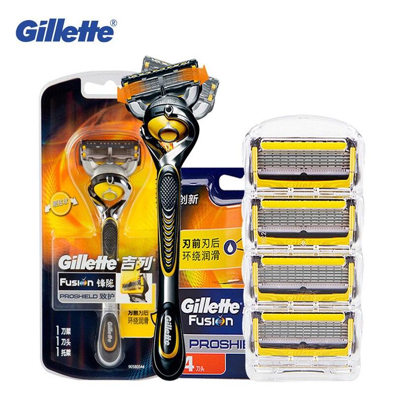 Gillette Fusion Proshield rasage rasoir rasoir lames pour Hommes Marques Sécurité Rasoirs barbe rasage épilation 1 Poignée + 5 lames