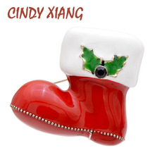 CINDY XIANG 3 Colors Choose 3D Design Enamel Boots Brooches For Women And Men Christmas Brooch Unisex Fashion Jewelry Gift