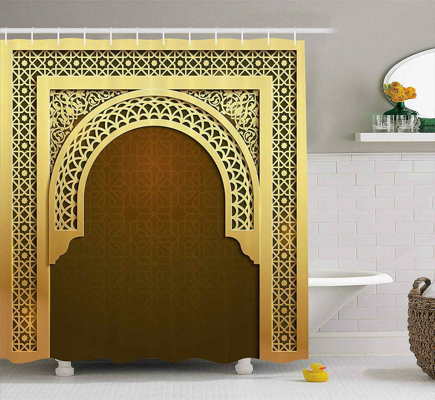 Moroccan Shower Curtain Middle Eastern Culture Greeting Scroll Arch Figure Celebration Religious Theme Fabric Bathroom Decor