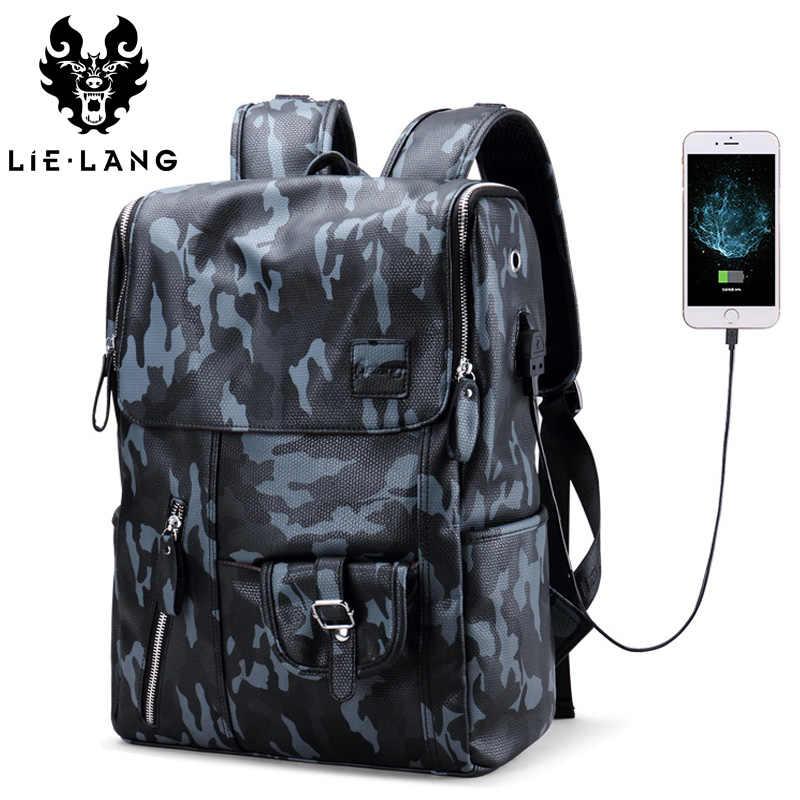 Lielang Для мужчин Кожа PU Рюкзак Водонепроницаемый большой Ёмкость 14  дюймов Сумка для ноутбука USB зарядка 2de9d4a322f