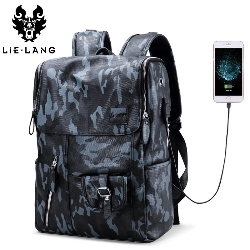 LIELANG Men PU Leather Backpack Waterproof Large Capacity 14 Inch Laptop Bag USB Charge Camouflage Backpack Bag Mochila Rucksack pattern thicken waterproof soprano concert tenor ukulele bag case backpack 21 23 24 26 inch ukelele accessories guitar parts gig