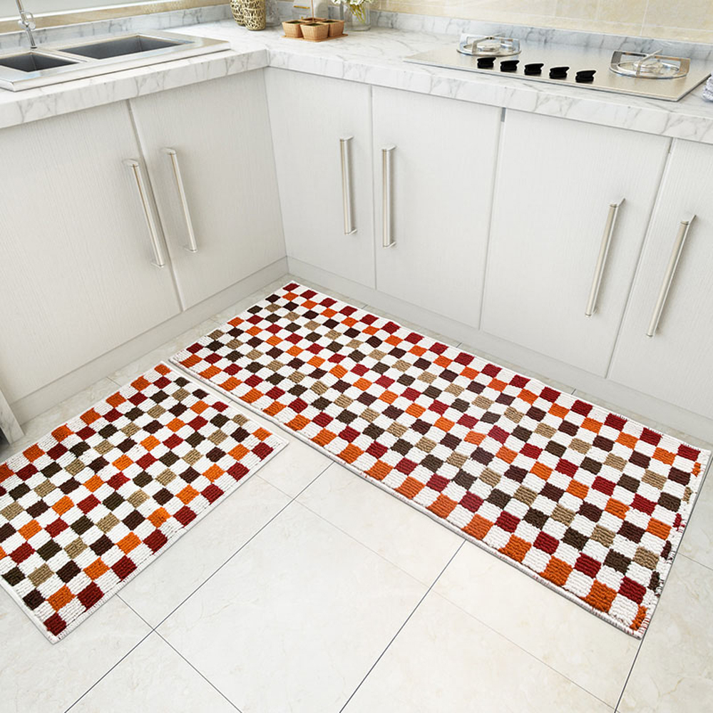 Blue/Red/Green 2 Piece Sets Rubber Backing Non Slip Kitchen Rug And