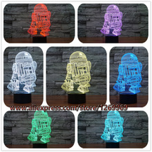 Hot Sale 3D Star Wars Warship Robot Kawaii R2-D2 Lamp 7 Colors Changing Night Light Fancy Bulb Touch Remote Controller Lighting