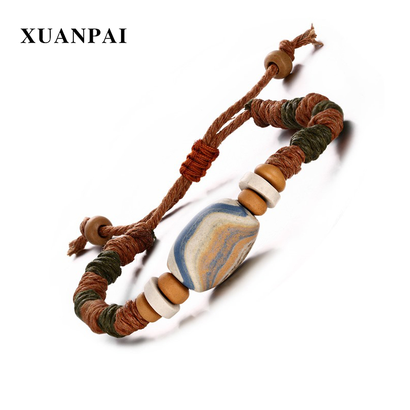 XUANPAI Bohemia Wrist Braided Rope Bracelets for Men Punk Style Porcelain Beads Masculino Pulseras Length Adjustable