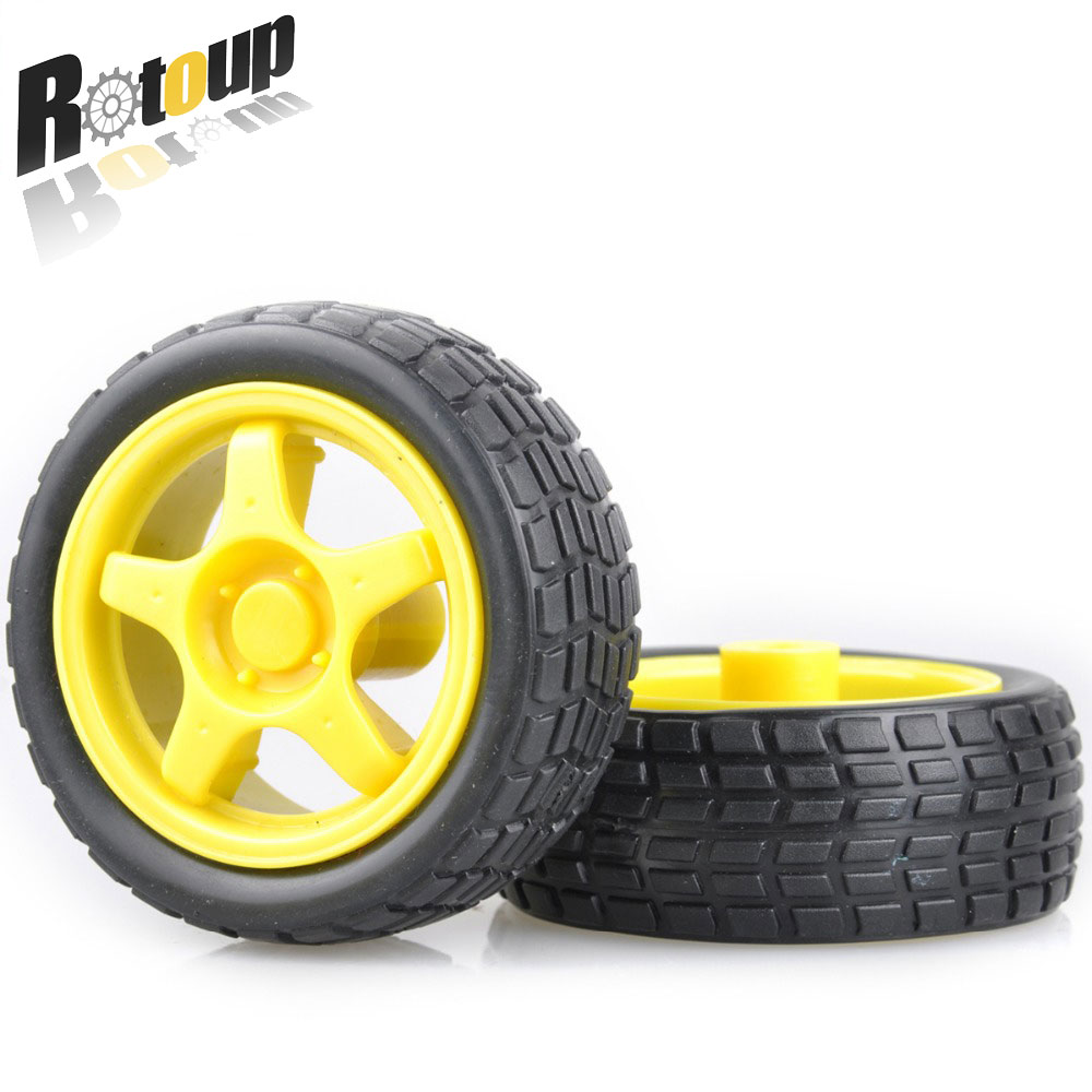 Rotoup 65*28MM Wheels Smart Car Chassis Tire Tyre Motor