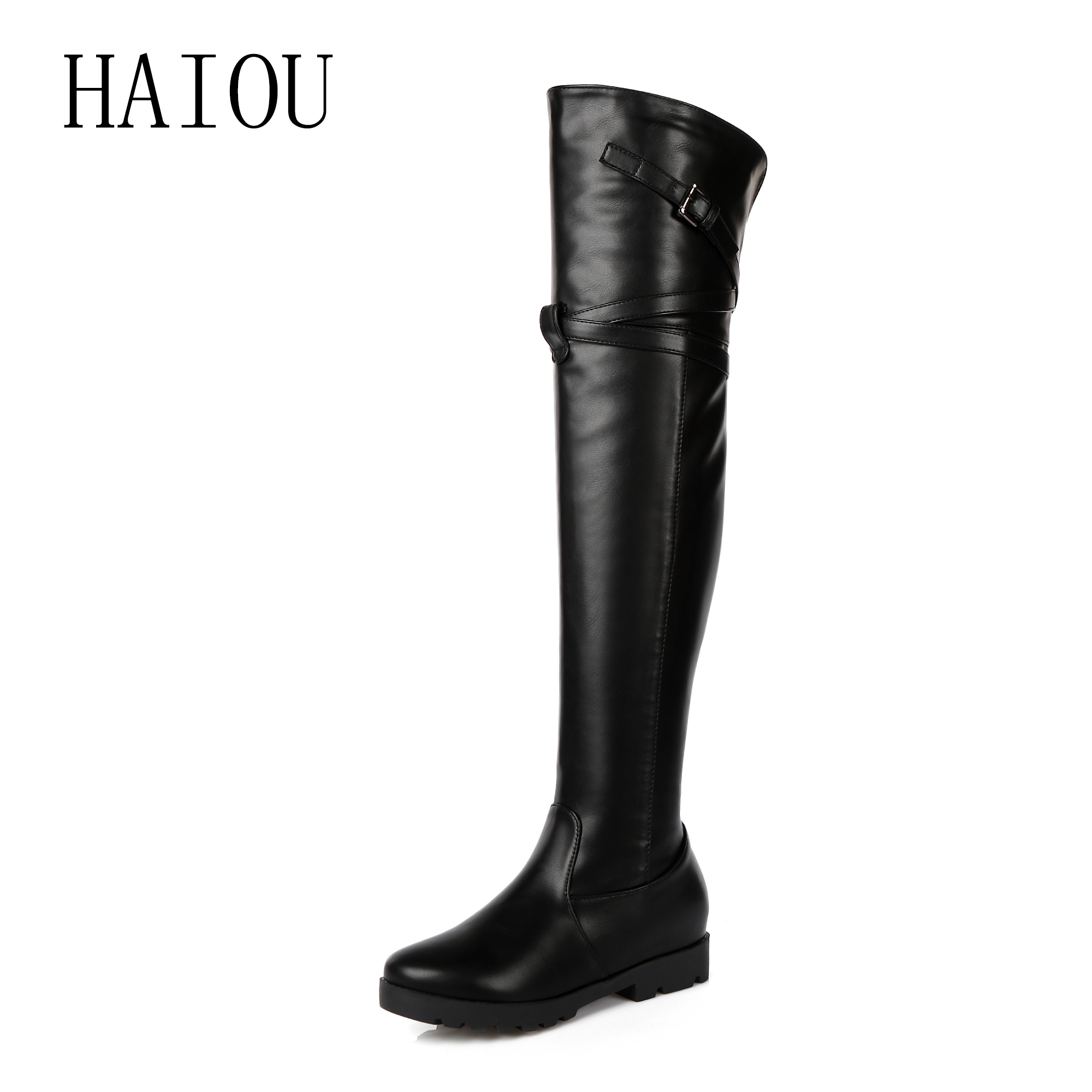 HAIOU Brands Hot Sale Pu+genuine Leather Boots Buckle Zipper Square Heel Autumn Winter Knee High Boots Fashion Ladies Shoes new big size 34 42 high quality pu genuine leather boots square heel winter shoes zipper buckle women knee high boots