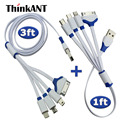 ThinkANT Multiple Connector 4 in 1 USB Charging Cable For Iphone 7 6S 6 5S 4S Ipad mini Multi USB Charger Cable Cord For Android