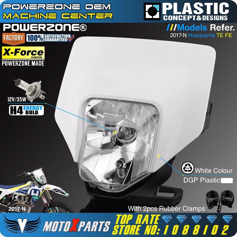 PowerZone Moto Phare de Phare Head Light Lampe Supermoto Carénage Pour HUSQVARNA FE TE 2018 17 MX Dirt Bike Enduro