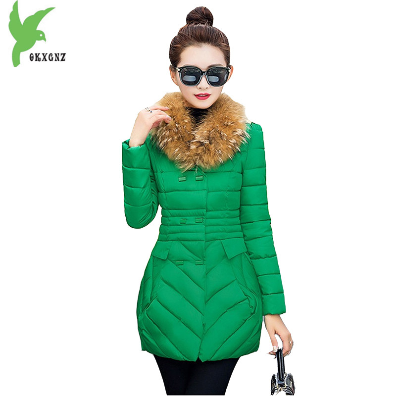 New Winter Women's Down Cotton Jackets Fashion Hooded Fur Collar Thick Warm Casual Tops Plus Size Slim Elegant Coats OKXGNZ A748 winter women s cotton jackets new fashion hooded warm coats solid color thicker casual tops plus size slim outerwear okxgnz a735