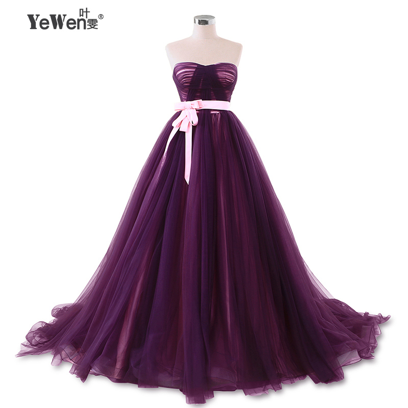 Belt strapless Bow backless beach Purple burgundy Prom dresses evening dress 2018 women party dress Sweep