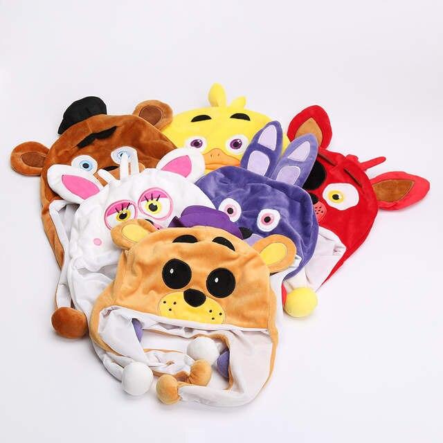 28e98c8de8d Online Shop FNAF Five Nights At Freddy s Plush Toy Freddy Fazbear Foxy  Bonnie Chica Beanie Hat Winter Ear Protector Cap Warm Fluffy Earflap