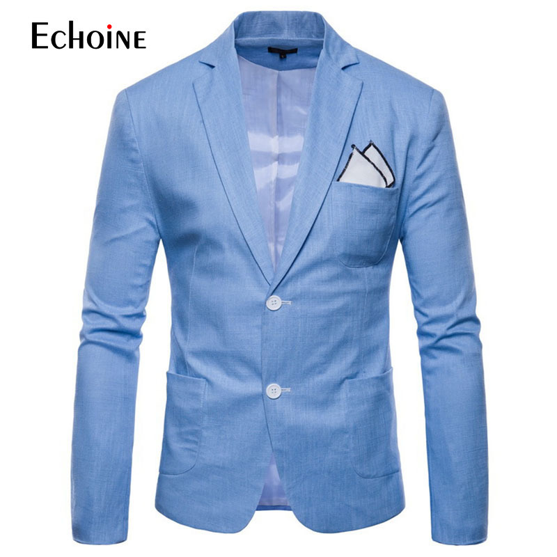 Echoine 2019 Casual Slim Fit Cotton Linen Knitting Blazers Men Suit Jacket Plus Size