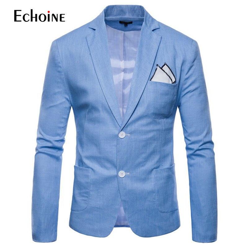 Lençóis de Algodão de Moda Verão Homens Conforto Mens Blazer Slim Fit Jacket 2019 Novos Ternos Blazers Homens Qualidade Ocasional Terno Mais Tamanho 4xl