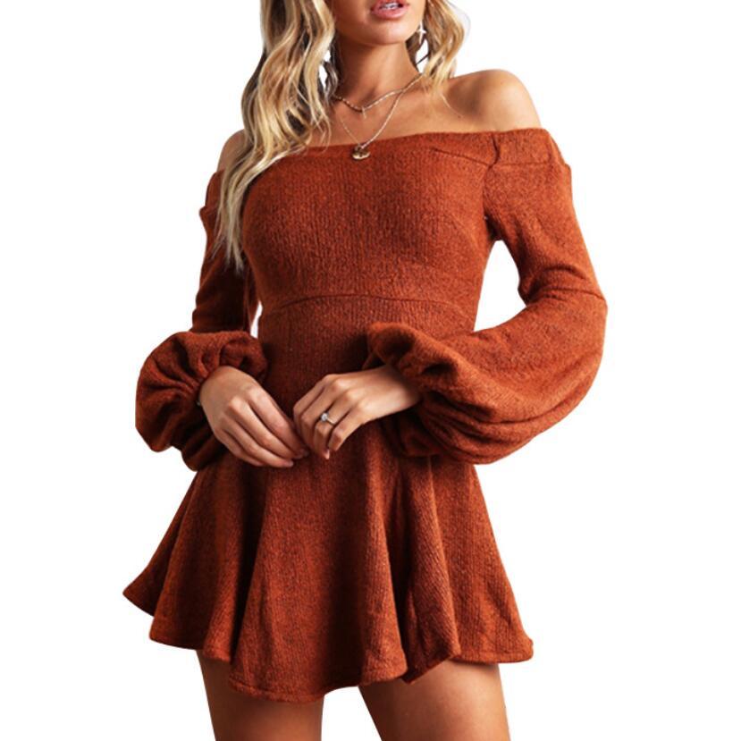 2018 Autumn Women Long Sleeves Dress Off-shoulder Sexy Mini A-Line Solid Color Dress Lantern Sleeves Boho Dresses