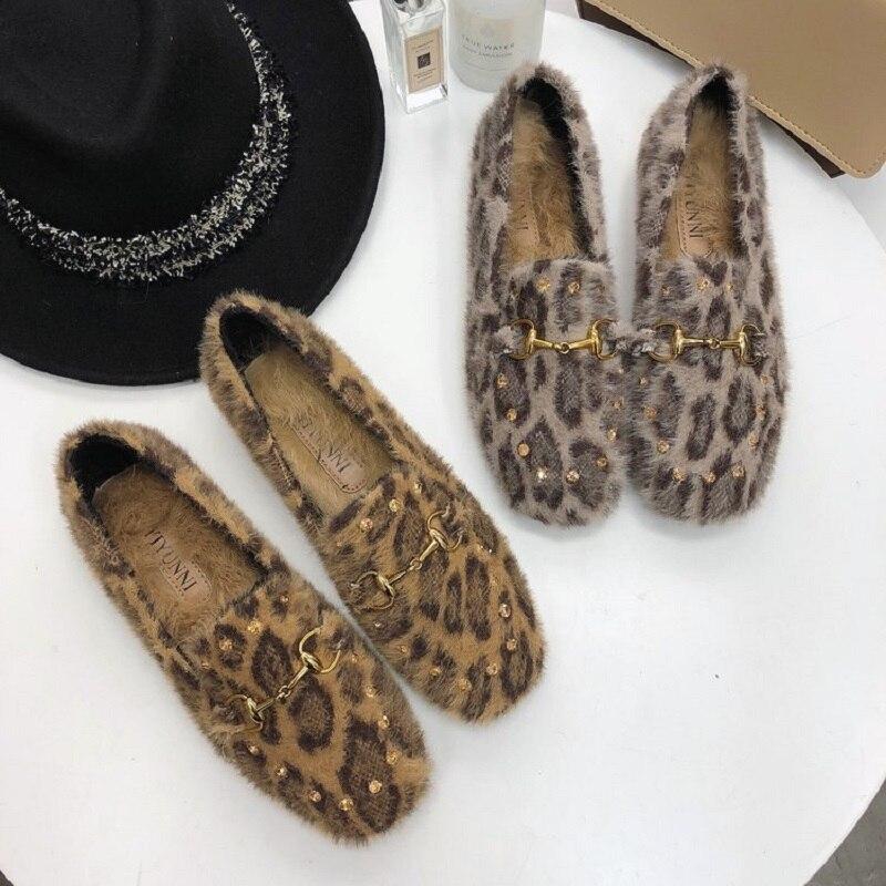 E Sexy Del Confortevole Scarpe 2018 Selvatici Autunno Caldo Basse Modo Più cachi Grigio Leopardo Inverno Di Velluto Mocassini Coreano RWwqqdfY
