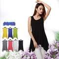 6 Colors Women O-Neck Sexy Summer Loose Large Elastic Camisoles Lady Sleeveless T-Shirts Female Long Tank Tops Tees