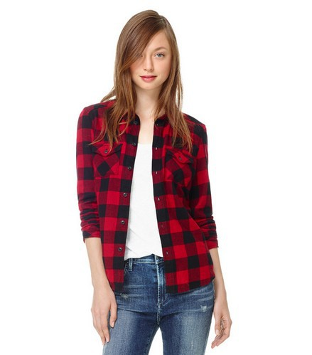 983ddf25 2014 Spring New Fashion European and American style Women Simple Classic red  black Plaid Shirts Girls' Slim Classy Tops st1002