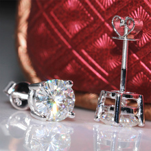 Genuine18K 750 White Gold Screw Back 2 Carat ct F Color Test  Positive Lab Grown Moissanite Diamond Earrings For Women