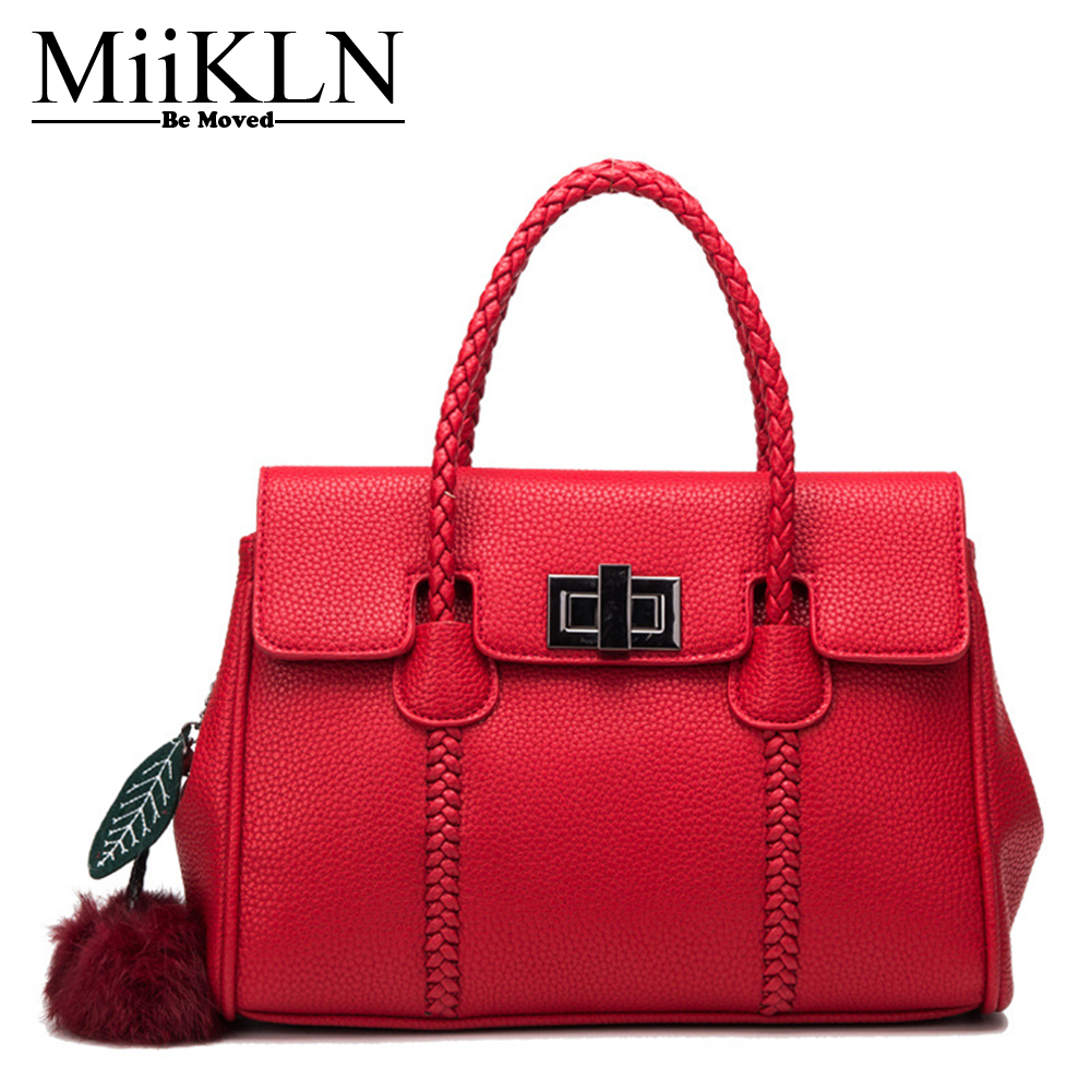 MiiKLN Women Bag Genuine Leather Red Purple Leather Handbags Black Grey Woman Bags Famous Brands Femel Fashion Design 2017 miikln yellow blue black red fashion women bags pu leather big size large ladies handbags crossbody solid zipper new 2017 design