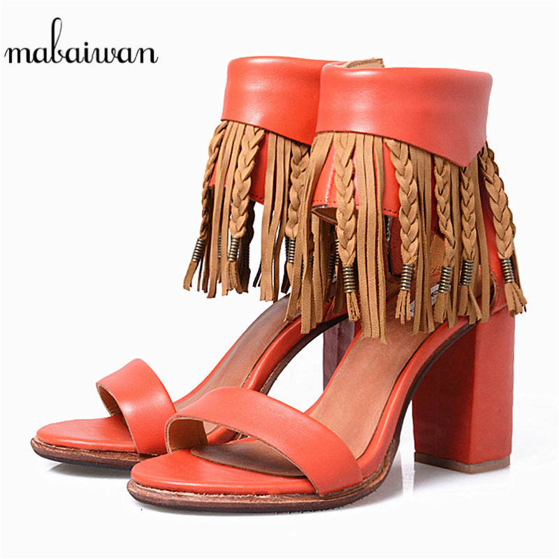 Mabaiwan Sexy Women Shoes Summer Party Sandals Thick High Heel Genuine Leather Fringe Dress Shoes Women's Peep Toe Wedding Pumps