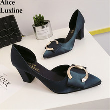 2016 Summer women pumps buckle black satin Square High-heeled shoes ladies D'Orsay casual shopping working Shallow single shoes