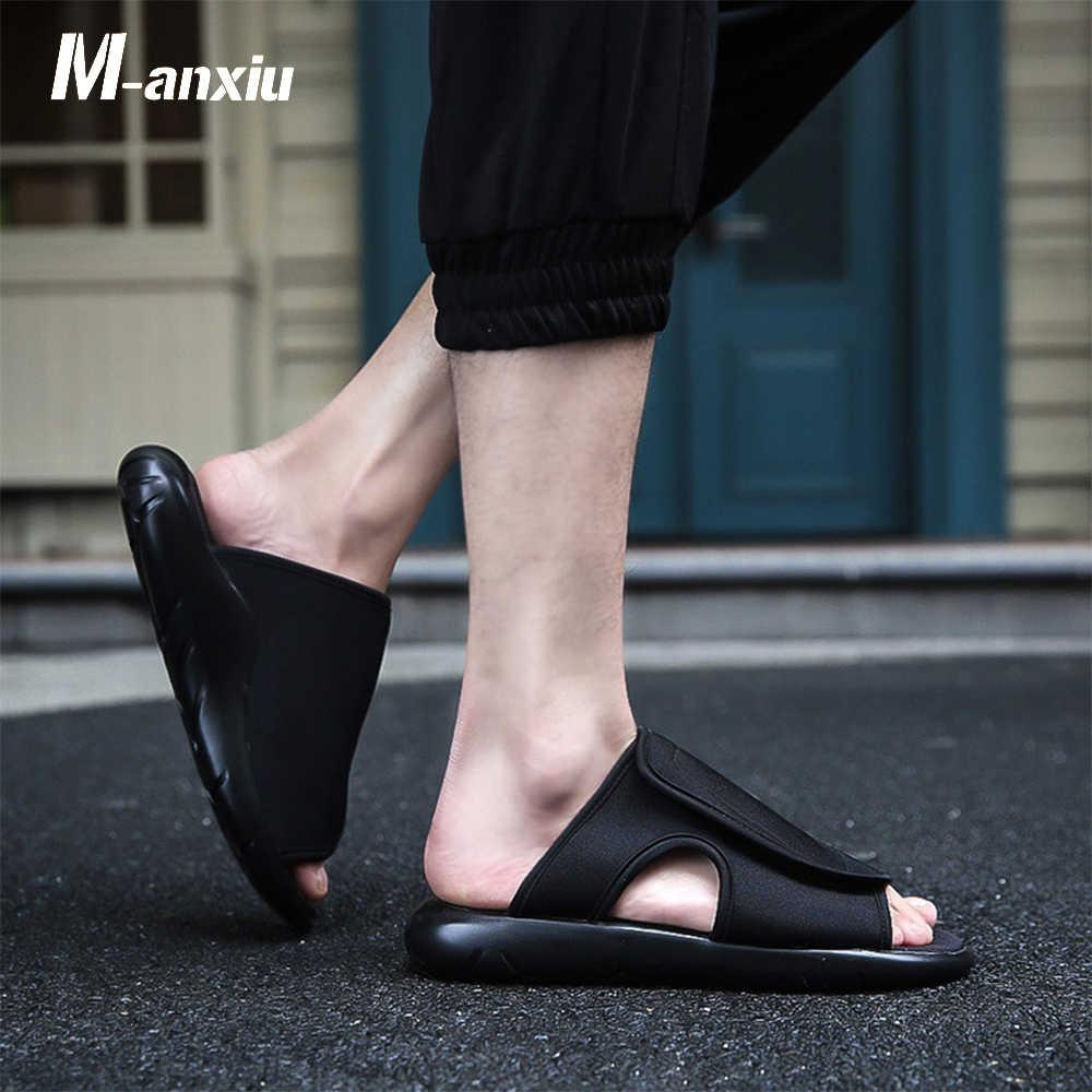 c24fe64f48947 M-anxiu Strapless Slip-on Fashion Flat Couple Sandal 2018 Summer Men Rubber  Sole