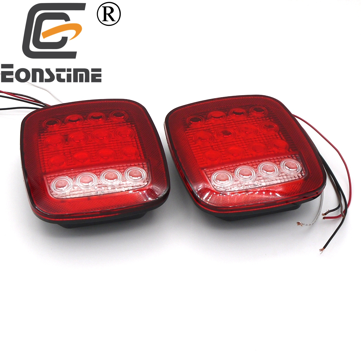 цены Eonstime 2Pcs 12V 16 LED Red/White Truck Trailer Boat Stop Turn Tail Light Reverse Light Lamp Waterproof