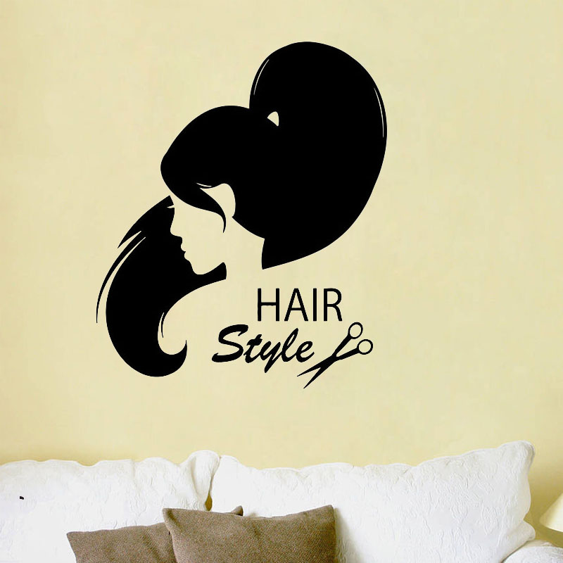 ZOOYOO Hairstyle Hair Salon Wall Sticker Home Decor Living Room ...