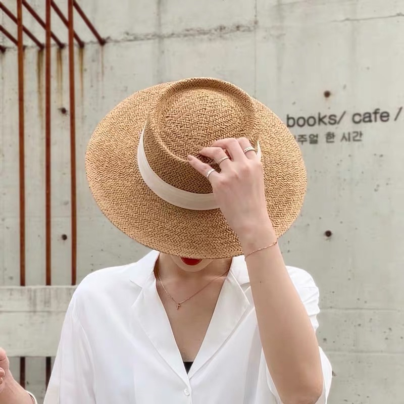 New Handmade Straw Beach Hat For Women Summer Holiday Panama Cap Fashion Concave Flat Sun Protection Visor Hats Wholesale