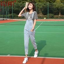 yesvvt SheIn Women Jumpsuit Denim Overalls 2017 Spring Autumn Black Strap Pockets Full Length Denim Jeans Jumpsuit S-XXL
