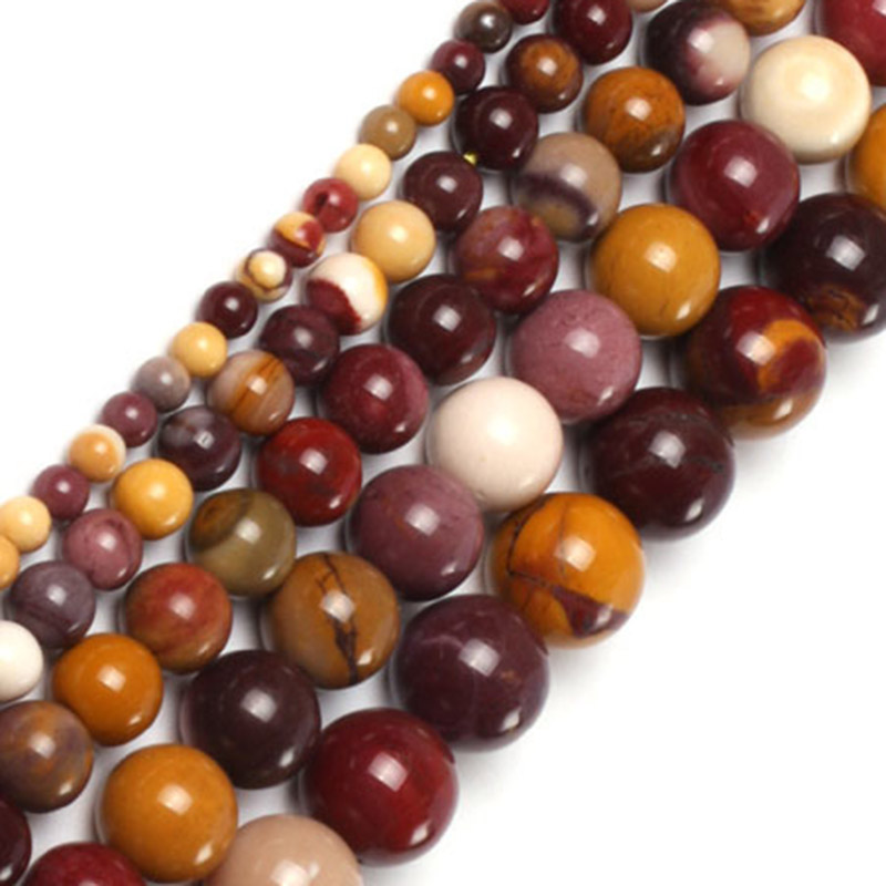 Natural Stone Round Smooth Mookaite Jaspers Beads For Jewelry Making strand 15 inch DIY Beads Trinket Necklace