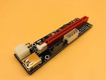 12PCS 3 in 1 4pin 6pin SATA PCI-E Express 1x 4x 8x 16x Extender USB 3.0  Black PCI-E Riser Adapter Card For Bitcoin Miner Mining
