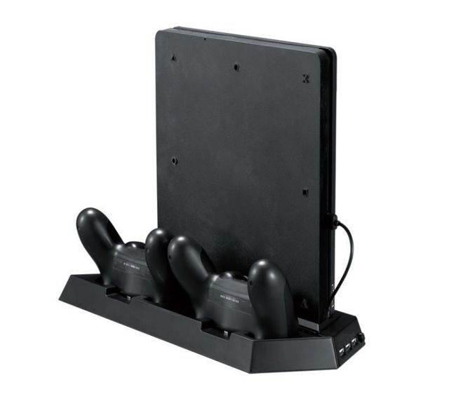PS4 Slim Vertical Stand with Cooling Fan Charging Stand Dual USB HUB Charger Ports for Playstation 4 PS4
