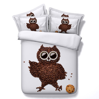 3D Animal Series Bedding Sets Owl Forg Squirrel Hedgehog Parrot Pattern Duvet Covers 3/4PC Kids/Adult Home Textiles