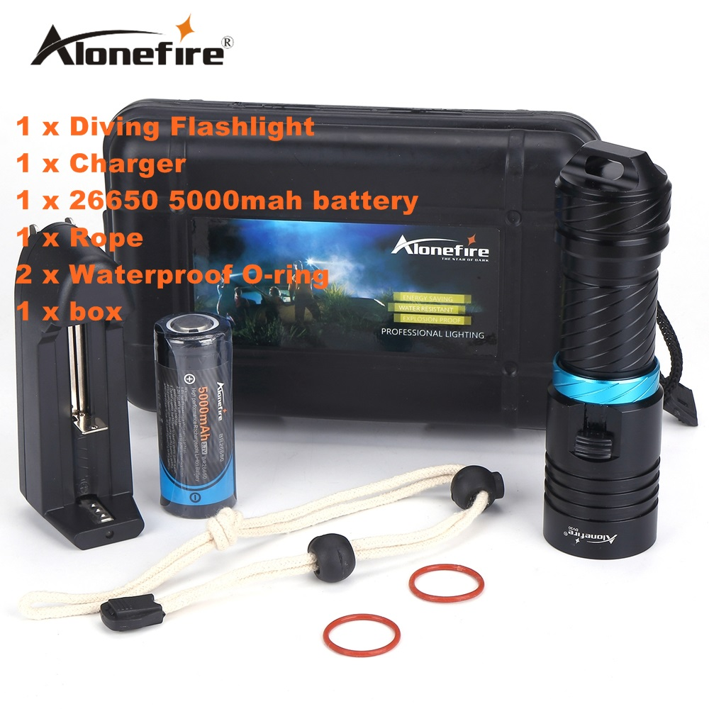 Alonefire DV30 2000LM Cree XM-L2 LED Diving Flashlight Torch 100M Underwater Waterproof Scuba Lantern + 26650 Battery + Charger