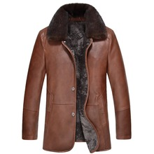 2017 Winter Brand New Genuine Leather Thick Warm Wool Liner Men's Suede cowkin and sheepskin Leather Coat Winter Leather Jacket