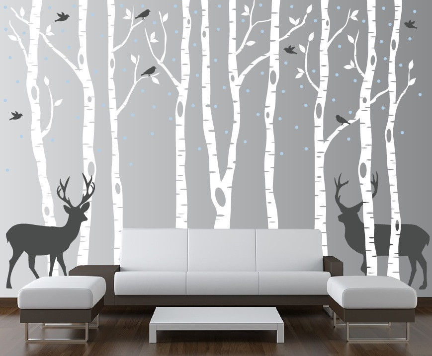 Birch Tree Wall Decal Forest With Birds And Deer Vinyl Sticker - Nursery wall decals canada