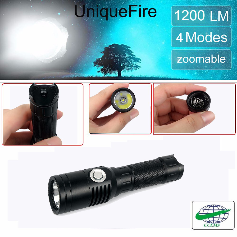UniqueFire UF-1602 1200 Lumens CREE XM-L2 USB LED Flashlight 4 Modes-Water Resistant-For Hiking Camping Blackouts  Emergencies favourite 1602 1f