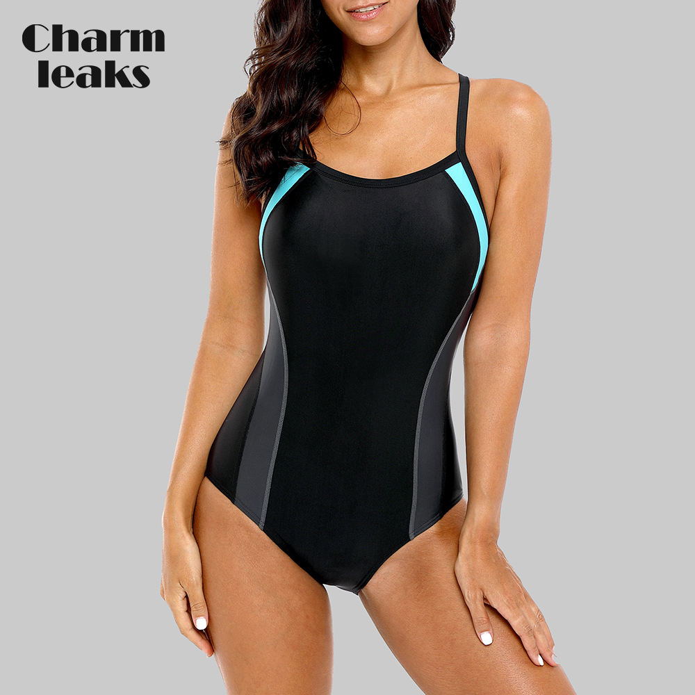 Charmleaks One Piece Women Sports Swimwear Sports Swimsuit Colorblock Monokini Beach Bathing Suit Bikini