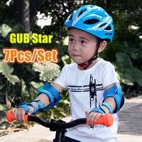 7pcs One set GUB Star Cycling kids Folding Children Bicycle Scooter Helmet BMX Skate Fixed Safe Cap boy girls 47 52cm bike